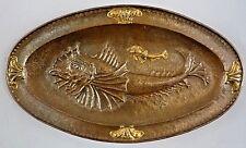 Grand plat art nouveau metal martelé et cuivre doré - poissons - Majorelle nancy