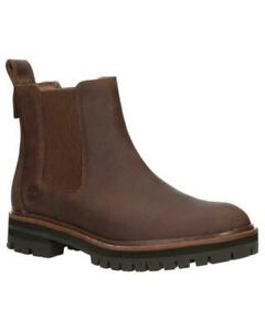 Womens TIMBERLAND Red Brown Leather Chelsea Slip On Ankle boots Size Uk 6.5 39.5