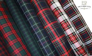 3 Metre Long Tartan Plaid Check Polyviscose Red Green Navy Fabric Fashion 150cm