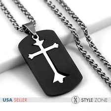 Men's Stainless Steel Cross in Black Dog Tag Pendant w Braid Necklace Cool 12M