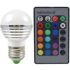 LED RGB E 27 Lampe kompakt 3 W + Fernbedienung 16 Farben wählbar Leuchtmittel
