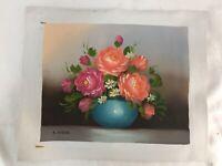 Mid Century Impressionist Original Art Oil Painting Roses Turquoise Signed CARR