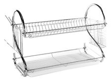 "2 Tier Stainless Steel S Dish Rack - Dish Drainer Rack 22"" Clear Tray"