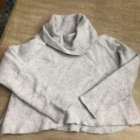 Women's Banana Republic Wool/Alpaca Blend cropped Cowl Neck sweater Large Gray