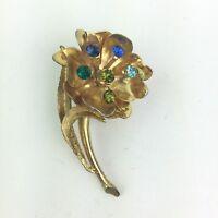 """Vtg Gold Tone Flower Floral Leaf Stem Brooch Pin Blue Green Rhinestone 2 1/4"""""""