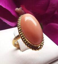 anello di corallo rosa pelle d'angelo caboshon gemma in argento 925 oro vintage
