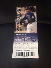 2014 Rockies vs. San Diego Padres Season Ticket Stub - September 6 Gonzalez