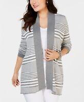 Size PL, Charter Club Women's Petite Striped Sweater Cardigan Fresh Twist NWT