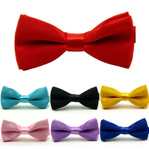 Boy Kid Child Solid Color Adjustable Pre-tied Bowtie Wedding Party Neck Bow Tie