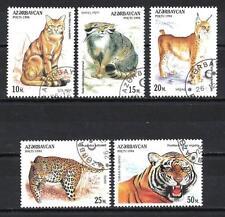 Animaux Félins Azerbaidjan (113) série complète 5 timbres oblitérés