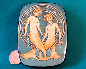 Pisces Boys Russian Lacquer Box hand painted Zodiac Star SIGN Signed