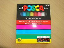 uni POSCA PAINT PENS PC-3M (set x 8) fine tip 1.3mm NIB marker poster art NEW