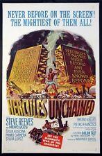 HERCULES UNCHAINED STEVE REEVES BODYBUILDER PEPLUM 1960 1-SHEET ON LINEN