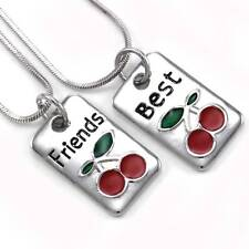 Cherry Fruit Best Friends Forever BFF Pendant Necklace Charm Silver Tone Dog Tag