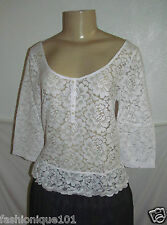 NWT HOLLISTER WOMENS WHITE LACE FRONT 3/4 SLEEVE SAN PEDRO TOP BLOUSE SIZE XS