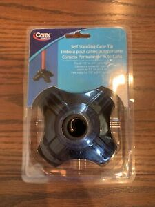 Carex Self Standing Cane Tip, Sturdy Non-Slip Rubber, Stabilizing Four Prong NIP