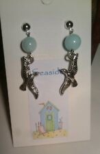 """New """"Seaside"""" Seagull and Natural Jade Bead Stud Earrings Silver Plated"""