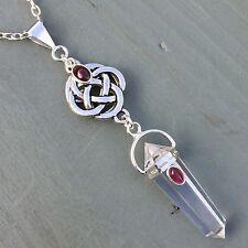 4 elements celtic knot & Discrete Pentagram Clear Quartz Point, Garnet Pendant