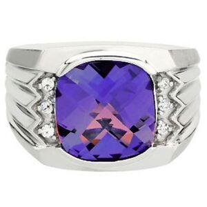925 Sterling Solid Silver Amethyst & White Topaz Gem Stone Ring Men's Jewelery