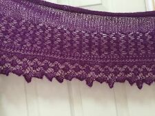 handknit mohair lace scarf/stole/wrap color in grape