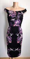 Elegant Black Floral Bird Bardot Off Shoulder Pencil Wiggle Dress Size 12 -20
