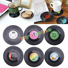 6PCS Ronda Vinilo Coaster Copa CD Record Holder bebidas Mat  Dessous de verre