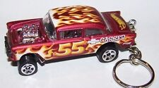CUSTOM MADE..1955 CHEVY GASSER (RED MET/FLAMES) KEYCHAIN..GREAT GIFT! ..VHTF!
