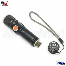 Zoomable 8000Lm XML T6 LED Flashlight USB Rechargeable Pocket Torch Lamp