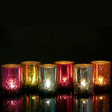 6er Set Windlichter Teelicht Glas bunt gold silber rot  Windlicht Teelichtgläser