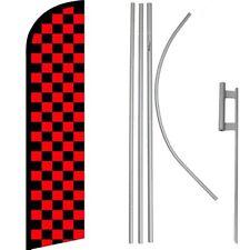 Red & Black Checkered Windless Banner Flag & 16' Flagpole Kit /Ground