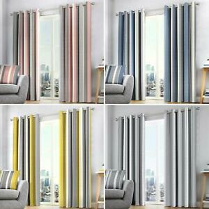Whitworth Stripe Eyelet Curtains Striped Ready Made Lined Ring Top Curtain Pairs