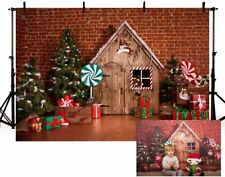 Christmas Winter Brick Wall Wood House Backdrop Lollipop Kids Photo Background