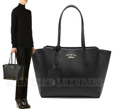 $1,100 GUCCI BAG 354408 SWING SMALL BLACK LEATHER TOTE TRADEMARK LOGO w/ ID TAG