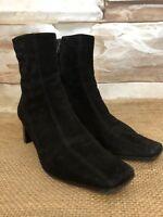 Nine West Women's Size 7 1/2 M Black Suede Back Zip Ankle Boots