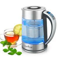 NUTRICHEF Digital Hot Water Glass Kettle with Tea Filter, Temperature Control