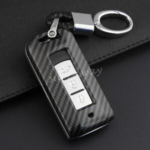 FOR Mitsubishi Carbon Fiber Hard Shell Smart Key Fob Chain Case Cover Outlander
