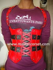HQUnder bust Genuine leather corset steel bonning with red and black LederKorse