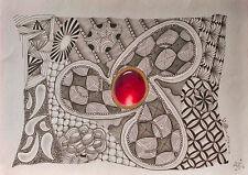 Original Bild, Zeichnung, Tusche, Bunt, abstrakt, Zentangle Art, Schmuckstein
