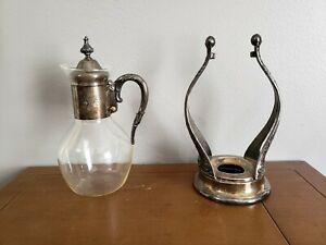Vintage Gorham Silver / Corning Holloware Carafe & Stand Silverplate