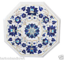 "15""x15"" Marble Coffee Side Table Top Lapis Mosaic Floral Inlay Home Decor H1751"