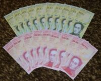 VENEZUELA 10 X 100000 / 10 X 20000 BOLIVARES P-NEW UNC LOT 20 PCS Total