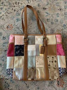 Coach Tan Leather Signature Patchwork Tote Handbag  #10001