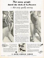 1920's BIG Vintage Red Cross Shoe Co Shoes Flapper Lady Man Fashion Art Print Ad