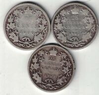 3 X CANADA 25 CENTS QUARTERS VICTORIA EDWARD STERLING SILVER COINS 1900 1902 03