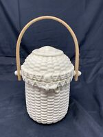 VINTAGE Party Lite  TEXTURED PORCELAIN WOVEN BASKET WITH WOODEN HANDLE