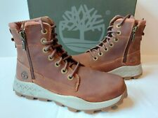 Timberland Brooklyn Side Zip Casual Boots Mens 9.5 M Brown Full Grain Leather