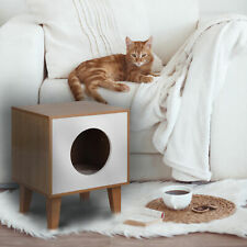 New listing Elegant Home Fashions Wooden Cat Pet House Bed Side Table White/Brown Pet-989