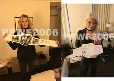 WWE ALEXA BLISS AND CHARLOTTE FLAIR HAND SIGNED WOMENS FOAM BELT WITH PIC PROOF