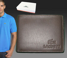 New Vintage LACOSTE City Classic (10) LEATHER WALLET Small Billfold + Coin Brown