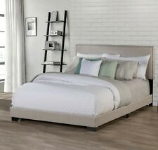 Queen Size Bed Frame Upholstered Nailhead Headboard Platform Bedroom Furniture